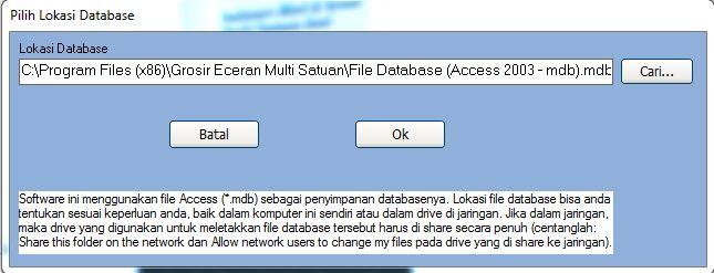 pilih lokasi database software grosir